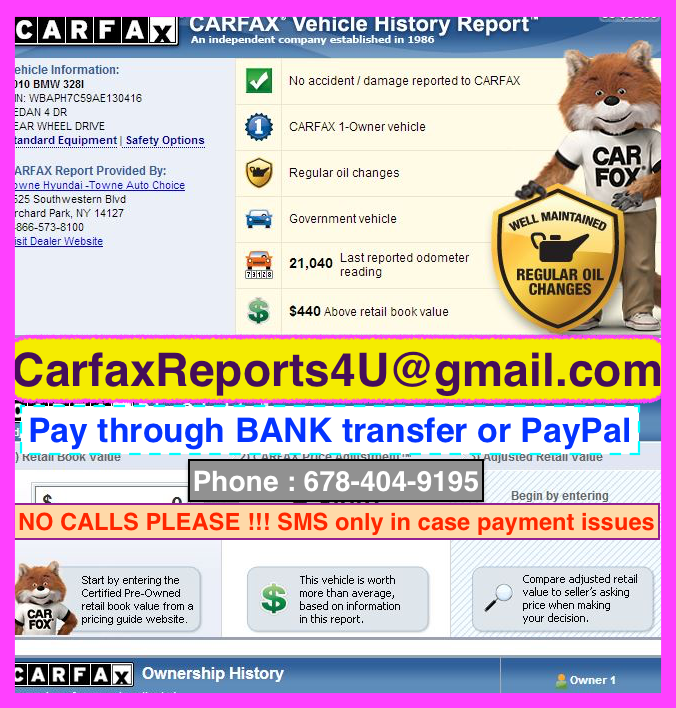 CARFAX and AUTOCHECK reports Available
