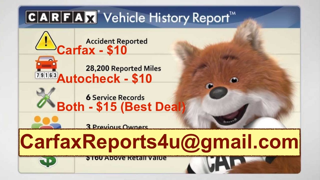 Genuine CARFAX & AUTOCHECK Reports Available 24x7